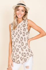 Animal Print Sleeveless Top - Beige