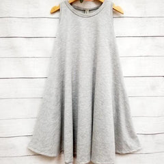 W&W Solid Sleeveless Draped Tunic Dress with Side Pockets - H. Grey