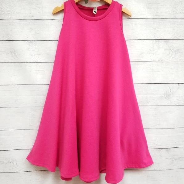 W&W Solid Sleeveless Draped Tunic Dress with Side Pockets - Fuchsia