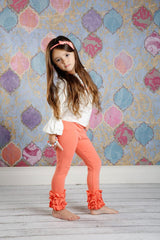 PREORDER Icing Ruffle Leggings - Coral - Pearls and Piggytails
