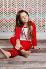 PREORDER Icing Ruffle Leggings - Red - Pearls and Piggytails