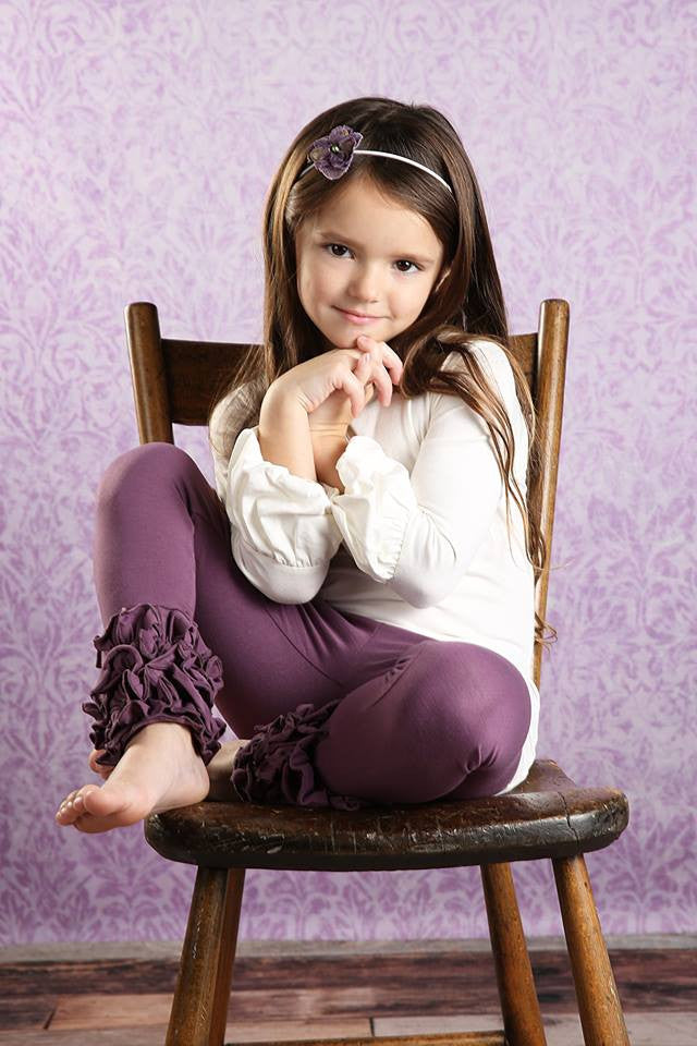 PREORDER Icing Ruffle Leggings - Eggplant - Pearls and Piggytails