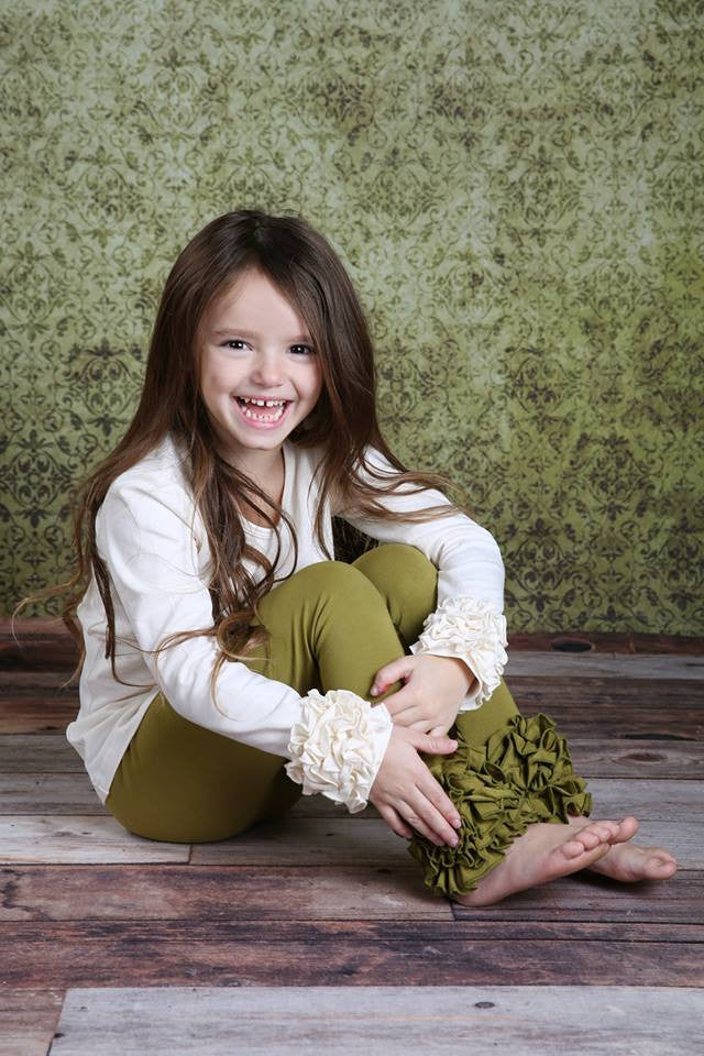 PREORDER Icing Ruffle Leggings - Herb - Pearls and Piggytails