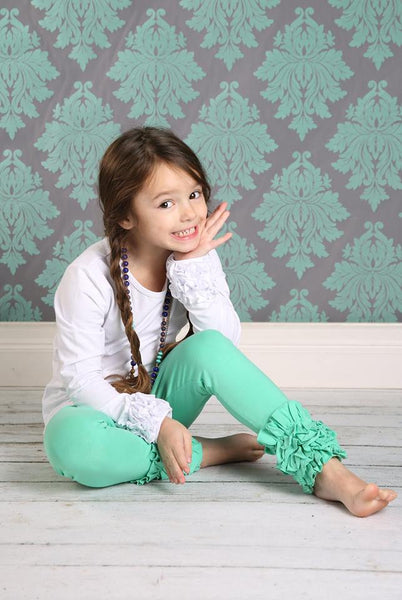 Icing Ruffle Leggings - Dark Mint