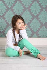 PREORDER Icing Ruffle Leggings - Dark Mint - Pearls and Piggytails