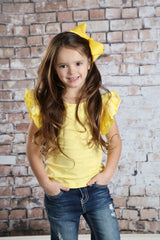 Felicity Flutter Tank - Light Yellow - Pearls and Piggytails