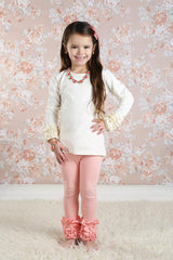 Icing Ruffle Leggings - Peach