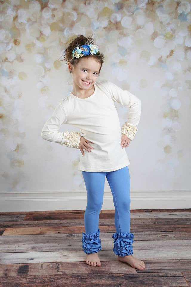 PREORDER Icing Ruffle Leggings - Cornflower - Pearls and Piggytails
