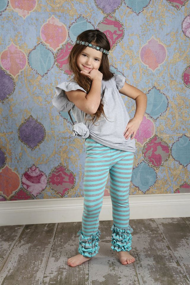 Icing Ruffle Leggings - Cloudy Skies - Pearls and Piggytails
