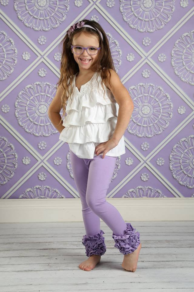 PREORDER Icing Ruffle Leggings - Purple - Pearls and Piggytails