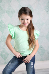Felicity Flutter Tank - Thin Mint - Pearls and Piggytails
