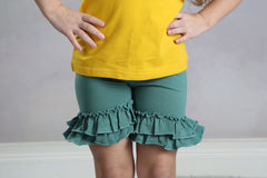 Ruffle Shortie - Teal - Pearls and Piggytails