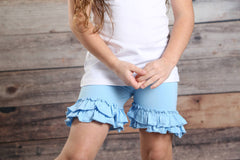 Ruffle Shortie - Light Blue - Pearls and Piggytails