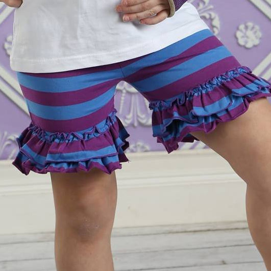 Ruffled Shorties - Plum Pudding - Pearls and Piggytails