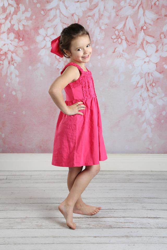 Nessa Ruffle Dress - Hot Pink - Pearls and Piggytails