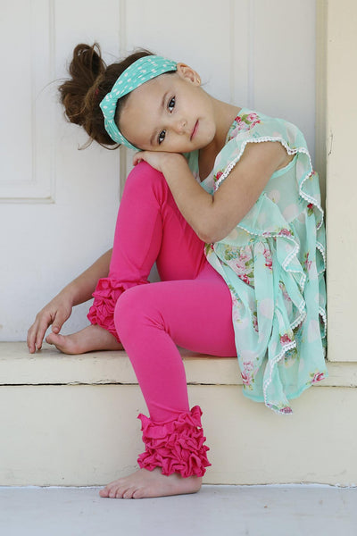 PREORDER Icing Ruffle Leggings - Hot Pink