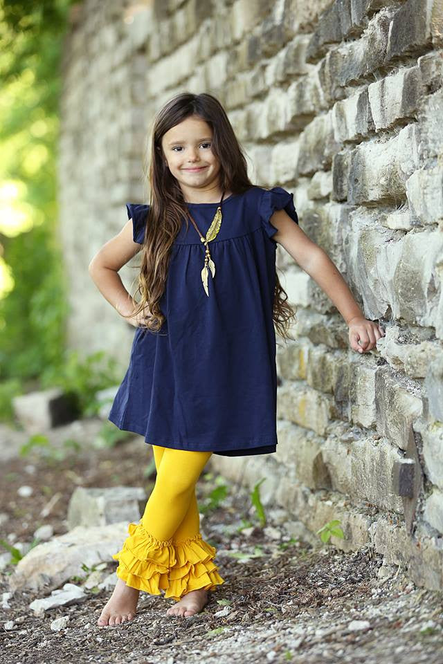 Bella Triple Ruffle Pants - Mustard - Pearls and Piggytails