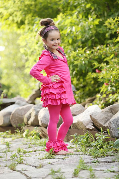 Bella Triple Ruffle Pants - Hot Pink