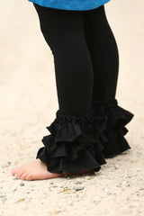 Bella Triple Ruffle Pants - Black