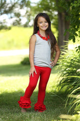 PREORDER Bella Triple Ruffle Pants - Red - Pearls and Piggytails