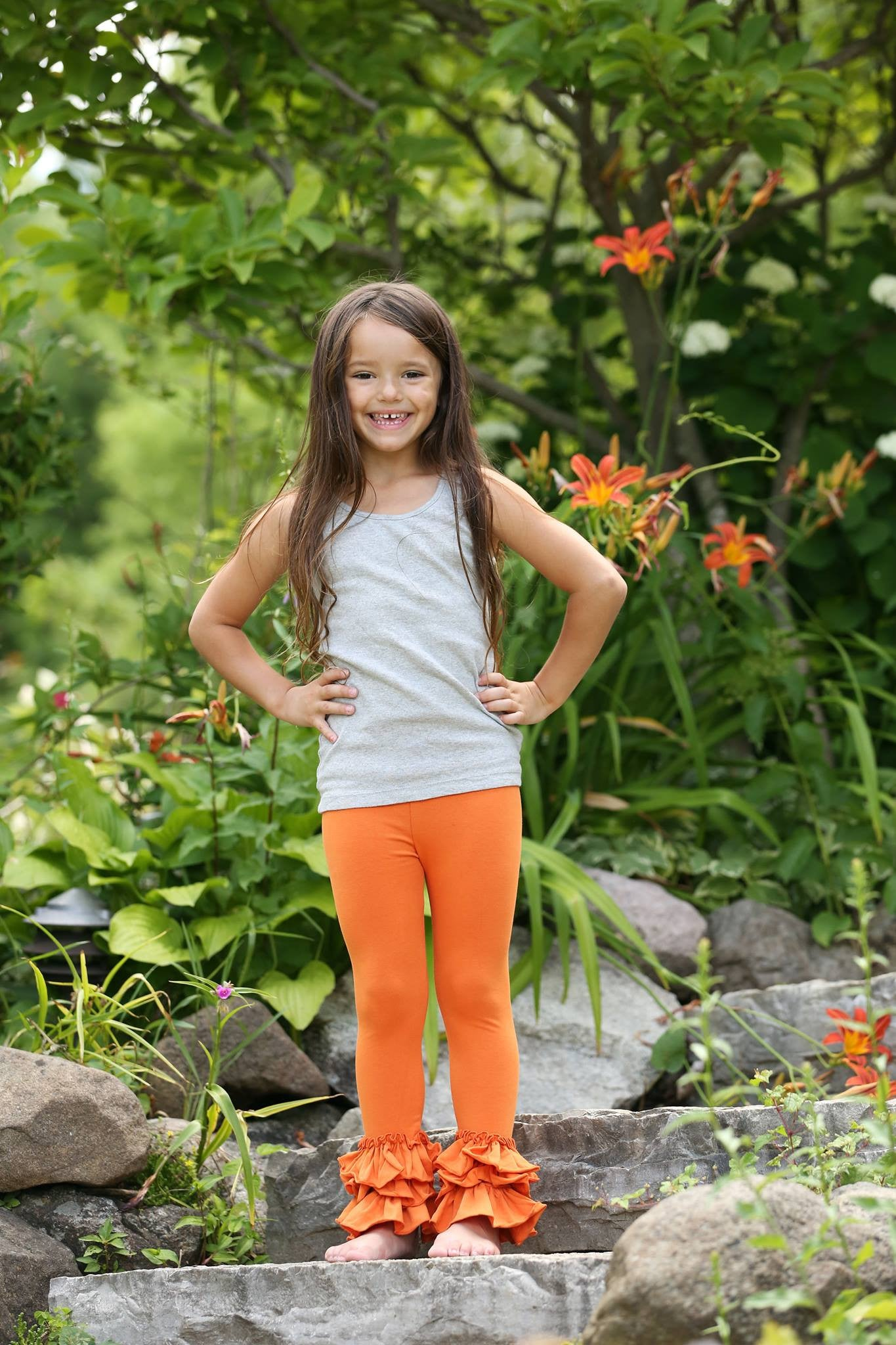 Bella Triple Ruffle Pants - Pumpkin - Pearls and Piggytails