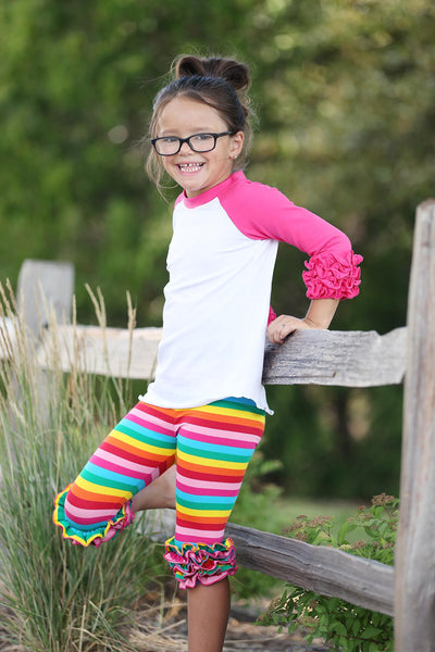 Capri Icing Ruffle Leggings - Rainbow Stripe