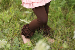 Bella Triple Ruffle Pants - Mocha - Pearls and Piggytails