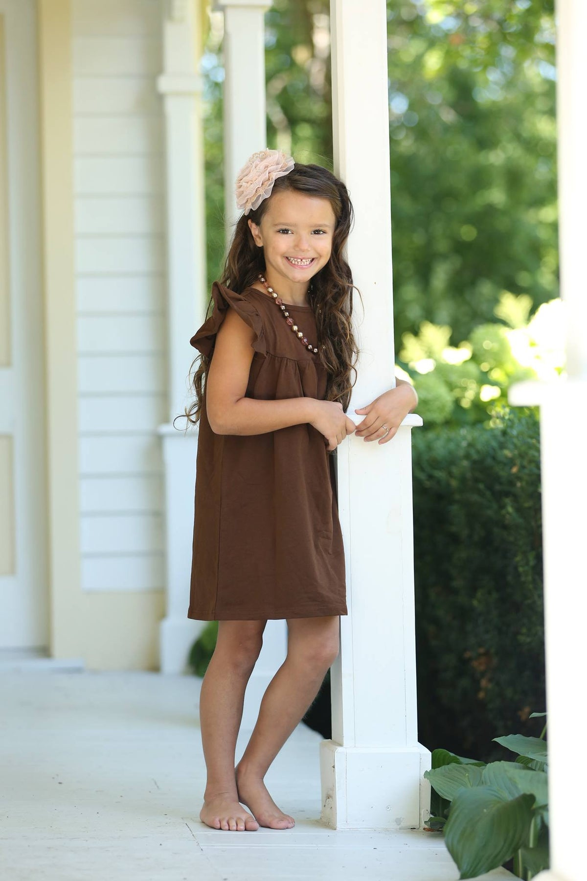 Pearl Dress - Mocha - Pearls and Piggytails