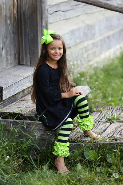 Icing Ruffle Leggings - Black/Lime