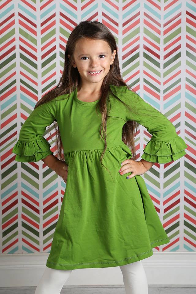 Amelia Dress - Seaweed - Pearls and Piggytails