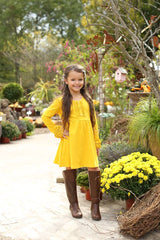 PREORDER Hopelyn Dress - Mustard - Pearls and Piggytails