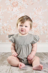 Paisley Bubble Romper - Taupe - Pearls and Piggytails