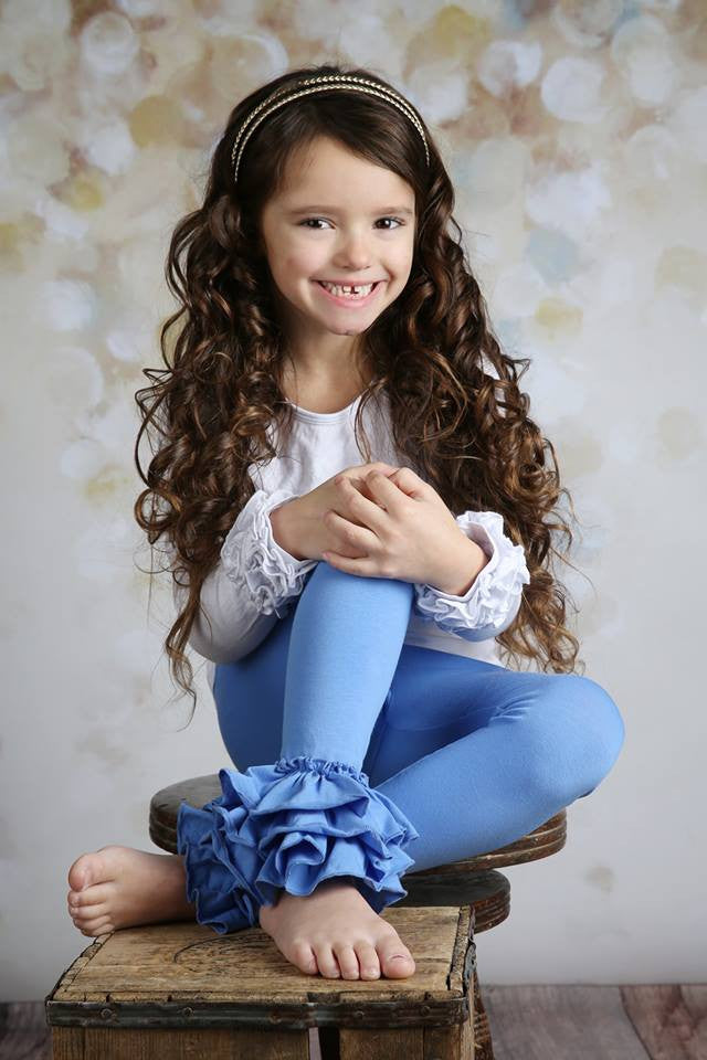 Bella Triple Ruffle Pants - Cornflower - Pearls and Piggytails