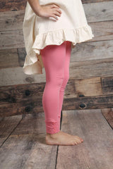 Sutton Button Leggings - Bubblegum - Pearls and Piggytails