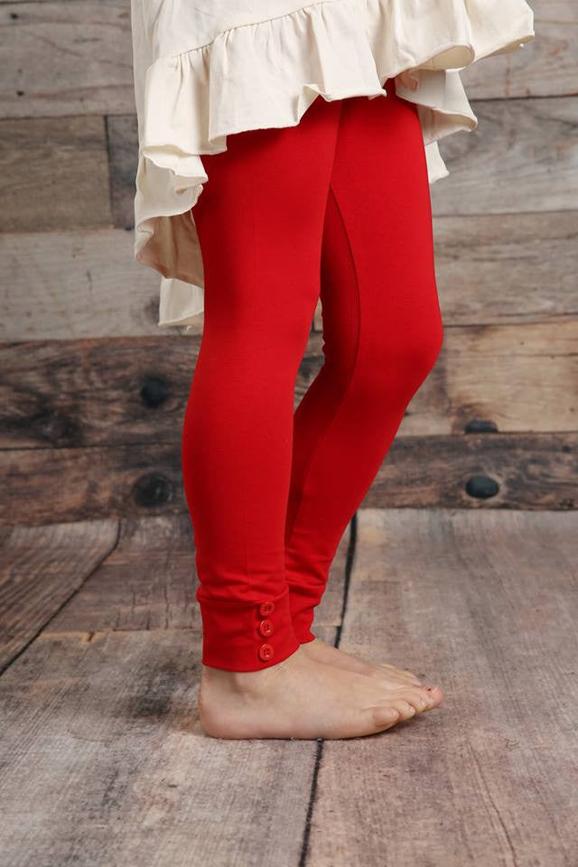 Sutton Button Leggings - Red - Pearls and Piggytails