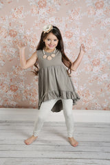 Sutton Button Leggings - Oatmeal - Pearls and Piggytails