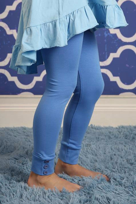 Sutton Button Leggings - Cornflower - Pearls and Piggytails