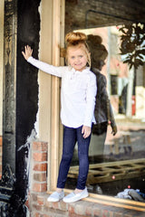 PREORDER Sutton Button Leggings - Denim - Pearls and Piggytails
