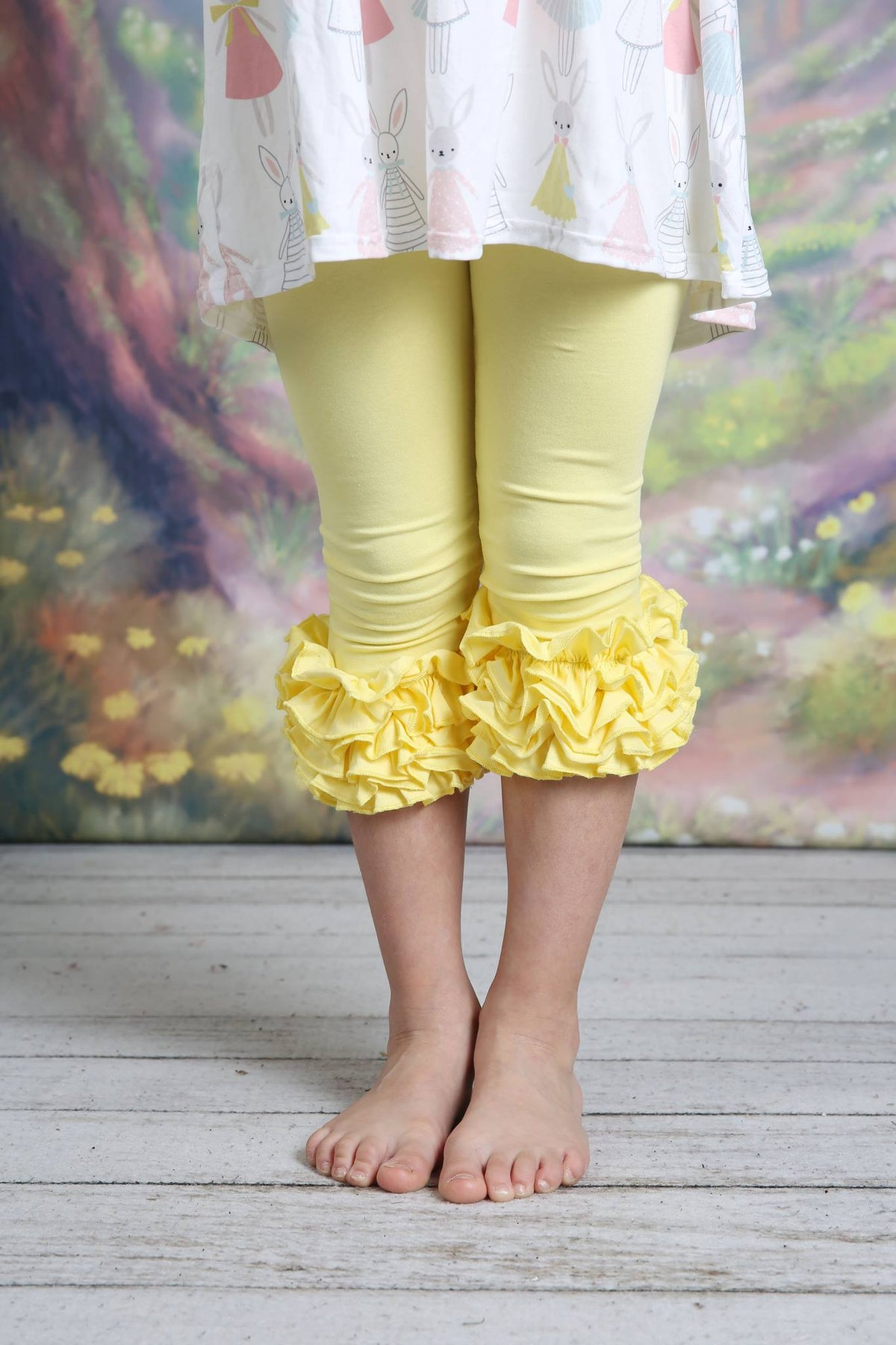 Capri Icing Leggings - Light Yellow - Pearls and Piggytails
