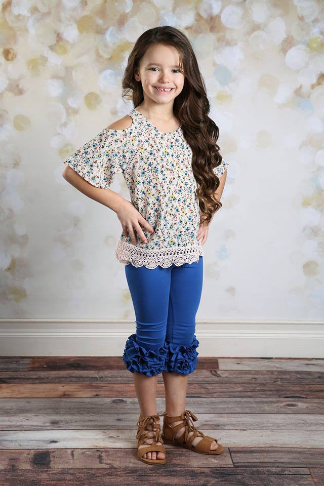 Capri Icing Leggings - Royal - Pearls and Piggytails