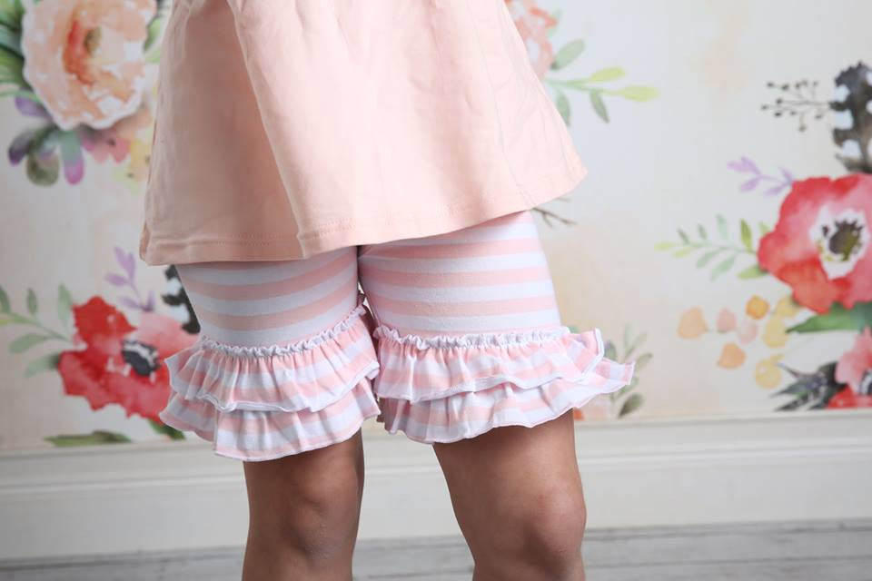 Ruffle Shortie - Frost Stripe - Pearls and Piggytails