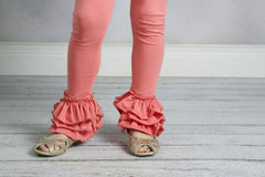 Bella Triple Ruffle Pants - Salmon - Pearls and Piggytails