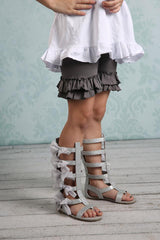 Ruffle Shortie - Grey - Pearls and Piggytails