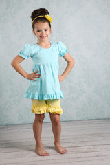 Ruffle Shortie - Light Yellow - Pearls and Piggytails