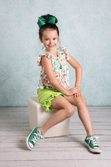 Ruffle Shortie - Lime - Pearls and Piggytails