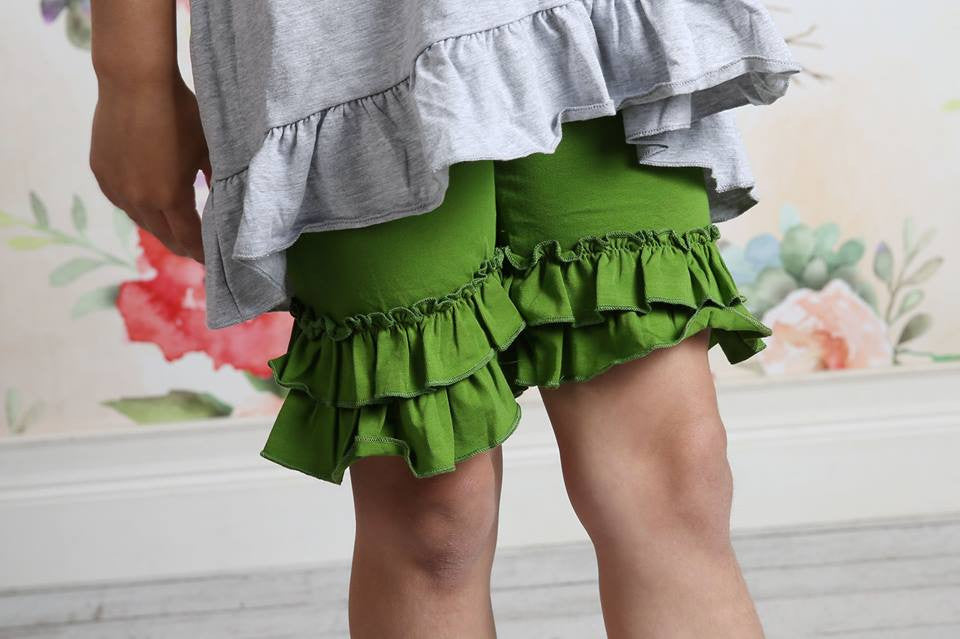 Ruffle Shortie - Seaweed - Pearls and Piggytails
