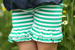 Ruffled Shorties - Green/White Stripe