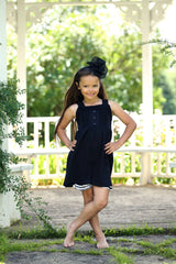Nessa Dress - Black - Pearls and Piggytails