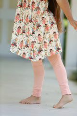 Sutton Button Leggings - Peach - Pearls and Piggytails