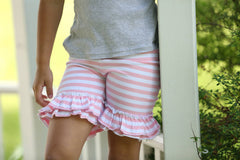 Ruffled Shorties - Light Pink/White Stripe - Pearls and Piggytails